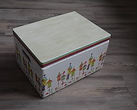 "Detské doplnky - bednička s vekom ""Domčeky"" - 10704949_"