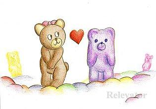 Detské doplnky - Sladká krajina - zamilovaný medvedík - 10705324_