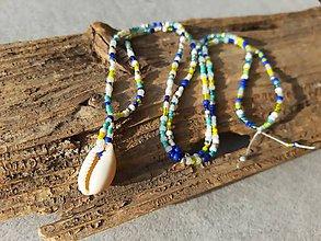 Náhrdelníky - Korálkový náhrdelník s mušlou - 10707218_