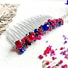 Ozdoby do vlasov - Royal Blue & Cyan Hair Comb / Hrebienok do vlasov modrá, cyklámenová /2100 - 10706751_