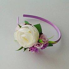 Detské doplnky - Kvetinová čelenka fialová - 10708248_