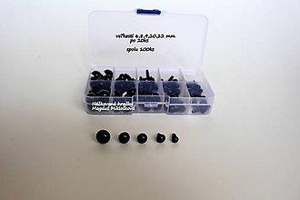 Komponenty - 100 ks box háčkovaných očiek 6-12mm čierne - 10706806_
