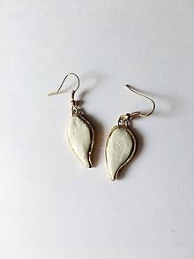 Náušnice - bielozlaté/keramika/ - 10708145_
