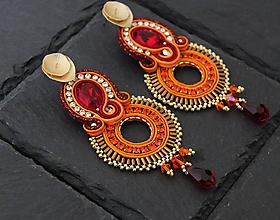 Náušnice - Oranžové šujtášové náušnice so Swarovski kryštálmi Dobrava - 10707905_