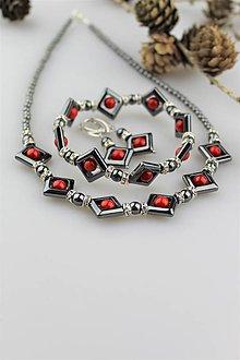 Sady šperkov - hematit a koral súprava (náušnice, náramok, náhrdelník) - 10708360_