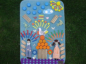 Úžitkový textil - Senzorický koberček JANKO A MARIENKA - 10707000_