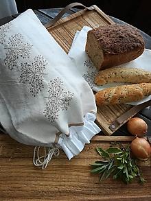 Úžitkový textil - Ľanové vrecko z ručne tkaného plátna - 10707375_