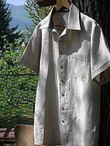 Oblečenie - Pánska ľanová košeľa - natur - 10708171_
