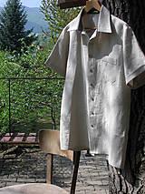 Oblečenie - Pánska ľanová košeľa - natur - 10708173_