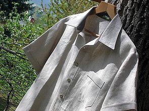 Oblečenie - Pánska ľanová košeľa - natur - 10708170_