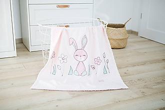 Textil - Deka dievčenská - zajko a kvety - 10705979_