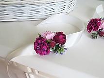 Pierka - Svadobé kvety - náramok, cyklamenová, bordová, ružová - 10705770_