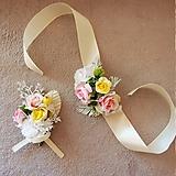 Pierka - Svadobé kvety - náramok, žltá, biela, ružová - 10706730_