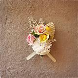 Pierka - Svadobé kvety - pierko, žltá, biela, ružová - 10706734_