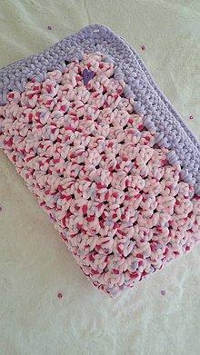 Textil - Hačkovaná detská deka - fialový melír - 10707510_