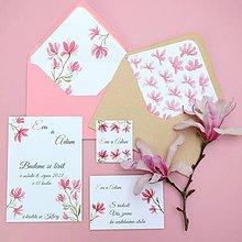 Papiernictvo - Magnolie růžová - svadobné oznámenie - 10707478_