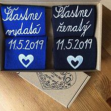 Obuv - Maľované ponožky pre novomanželov / k výročiu svadby (kráľovskomodré+tmavomodré) - 10708376_