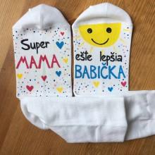 Obuv - Maľované ponožky pre super MAMU a ešte lepšiu BABIČKU - 10708457_
