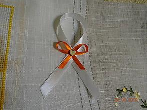 Darčeky pre svadobčanov - Mašlička na fľaše biela a oranžová - 10707086_