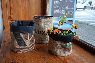 Dekorácie - Košík/obal na kvetináč z vreca na kávu - 10705840_