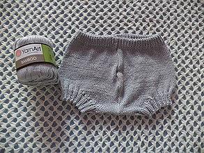 Detské oblečenie - Upletené bambusové šortky svetlo-šedé - 10709933_