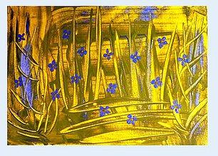 Obrazy - Modré kvietky - 10711551_