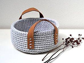 Košíky - Háčkovaný košík s koženými ušami - 10709367_