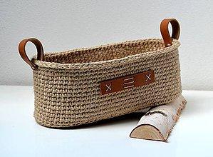 Košíky - Háčkovaný košík-oválny s koženými ušami - 10709403_