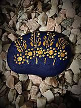 """Dekorácie - Maľovaný kameň - """"modrý folk"""" - 10710053_"""