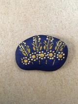 """Dekorácie - Maľovaný kameň - """"modrý folk"""" - 10710062_"""