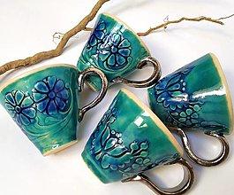 Nádoby - Keramické šálky na kávu - tyrkysové - 10709885_