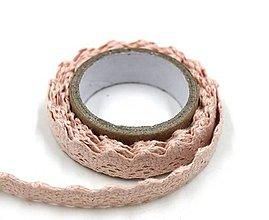 Galantéria - C120 Čipka bavlnená samolepiaca 1,8 cm (Ružová) - 10708770_
