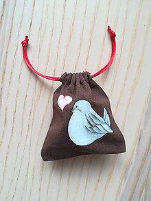 Iné tašky - Ľanové vrecúško na menštruačný kalíšek - vtáčiky - 10711006_