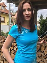 Tričká - Tričko folk V - tyrkysová - 10711489_