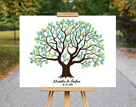 Grafika - Michelle - Svadobný strom na odtlačky prstov - 10709256_