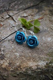 Náušnice - Tyrkysové ruže - 10710296_