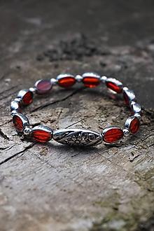 Náramky - Červený náramok - Zrno - 10710357_