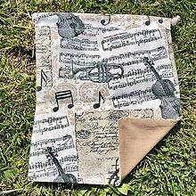 Úžitkový textil - Zero Waste Rôznostranné vrecúško (Hudobné) - 10710328_