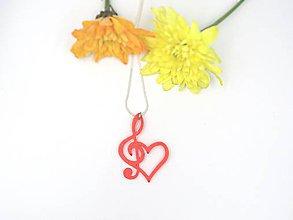 Náhrdelníky - Prívesok srdce s huslovým kľúčom - 10709629_