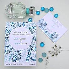 Papiernictvo - Modré vetvičky - oznámenie - 10708887_