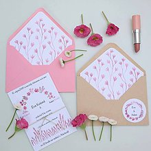 Papiernictvo - Ružové kvety - oznámenie - 10709545_
