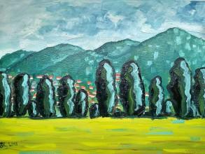 Obrazy - Olejomaľba-topole v Tokaji - 10710598_