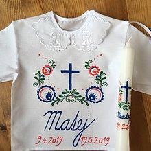 Detské oblečenie - Krstná maľovaná ľudovoladená košieľka - 10711458_