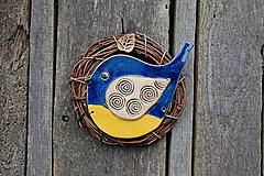 Dekorácie - Vtáčik vo venčeku č. 96 - 10709449_