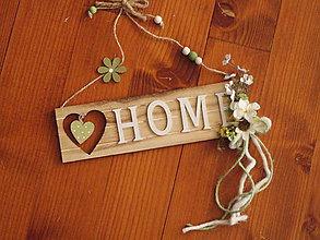 Dekorácie - Drevená tabuľka na dvere Home - 10710604_
