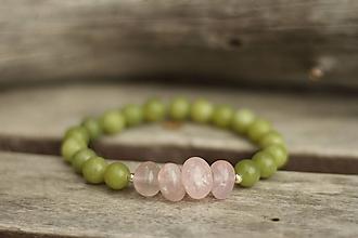 Náramky - Náramok z minerálu ruženín a jadeit - 10710627_
