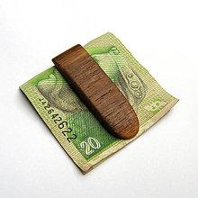Tašky - Drevená spona na peniaze - orechová - 10709174_