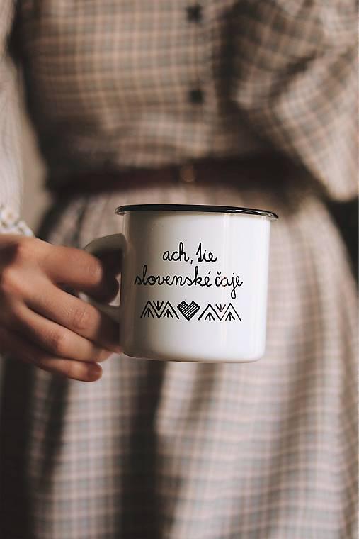 Smaltovaný hrnček - Ach, tie slovenské čaje