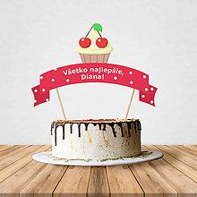 Dekorácie - Zápich na tortu - cupcake (čerešňový) - 10708992_