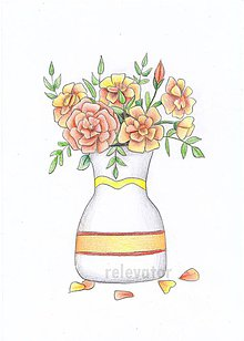 Kresby - Váza s kvetmi - oranžové - 10710839_